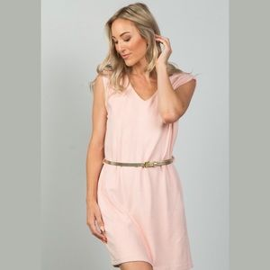 2 for 25 Pink Faux Suede Belted Mini Dress